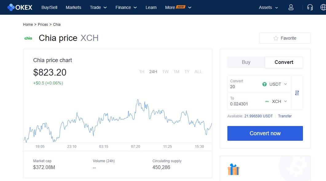OKEx skärmdump