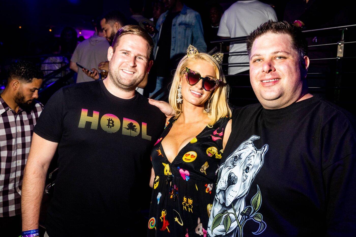 Dan Held, Paris Hilton, and Riccardo Spagni at STORY Nightclub in Miami on June 5, 2021.