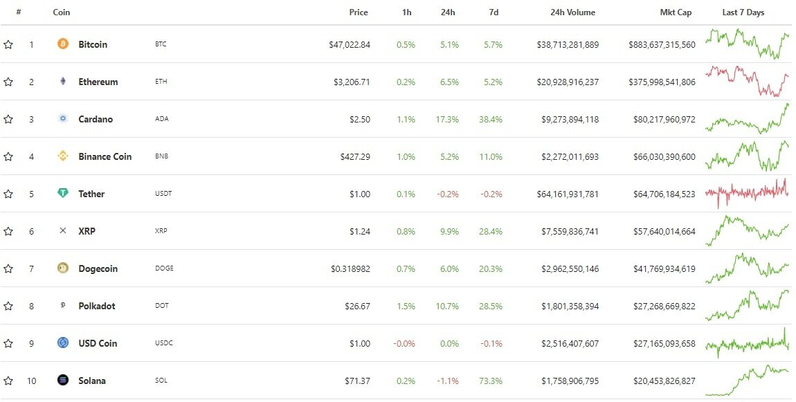 The top 10 cryptocurrencies