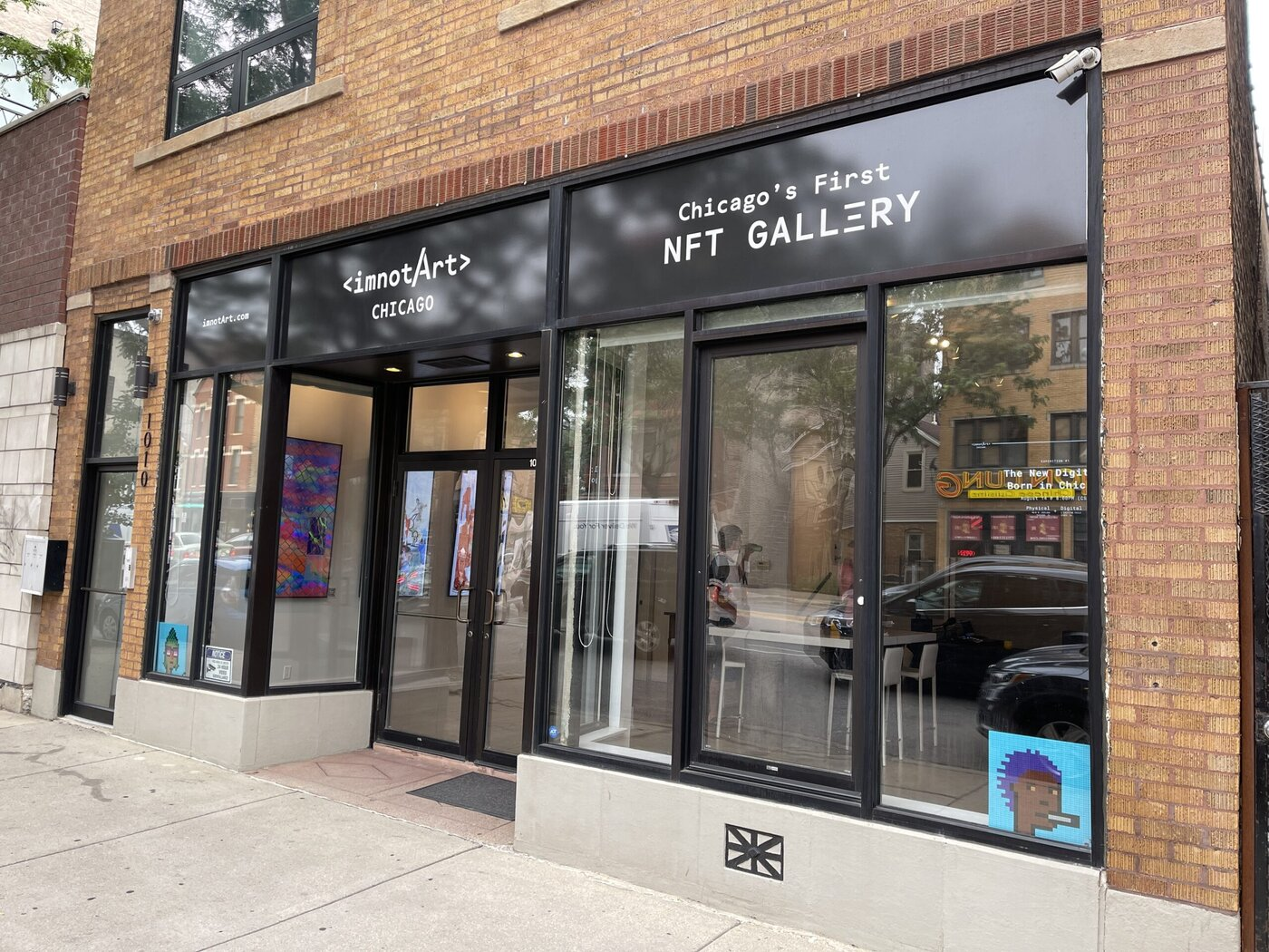 """Outside view of Chicago's """"first NFT gallery."""""""