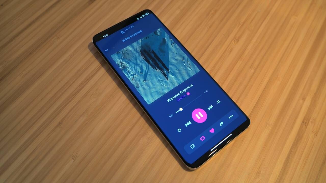 Smartphone showing Audius app