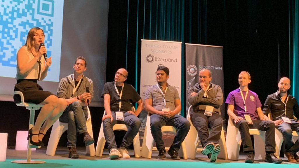 The Blockchain Game Alliance at the Blockchain Game Summit with B2Expand, Ubisoft, Enjin, Everdreamsoft, Ultra, and others.