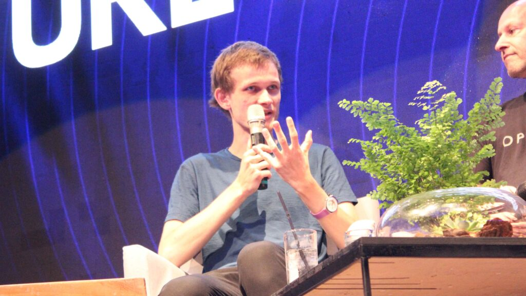Vitalik Buterin speaking at Ethereal