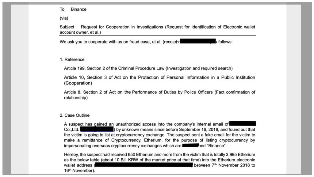 Binance provides evidence of case