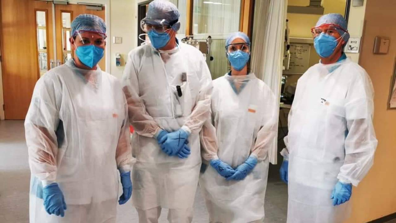 Health workers wearing 3D printed PPE