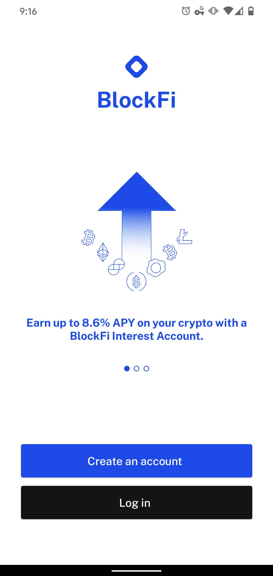 Screenshot of the new BlockFi mobile app.