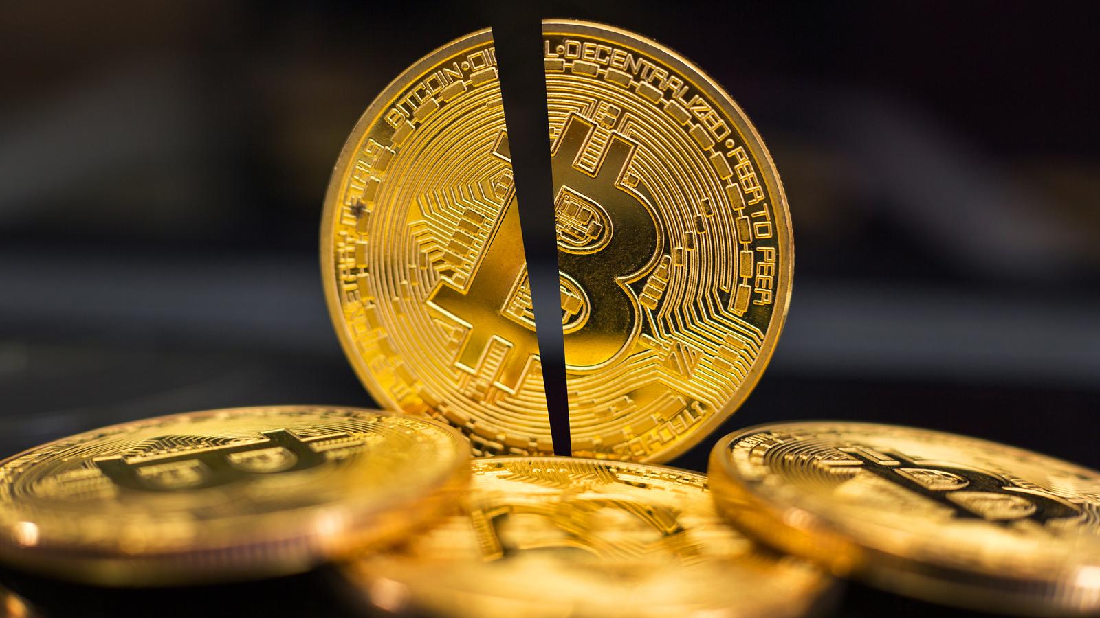 Gold Bitcoin Token split in half