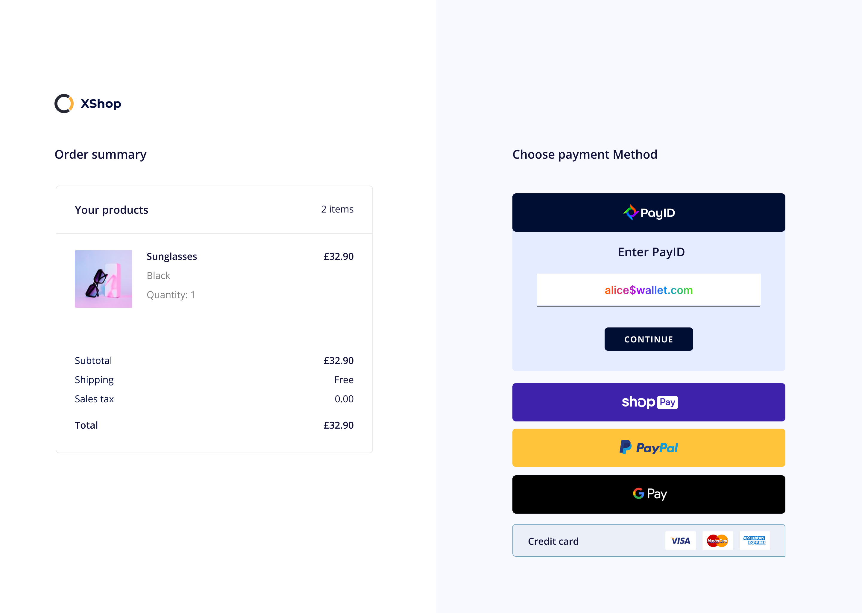 A mockup showing the PayID system in an e-commerce store