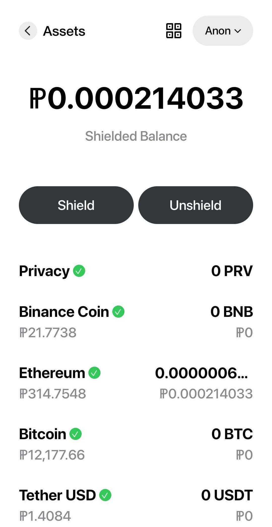 The assets view of the app