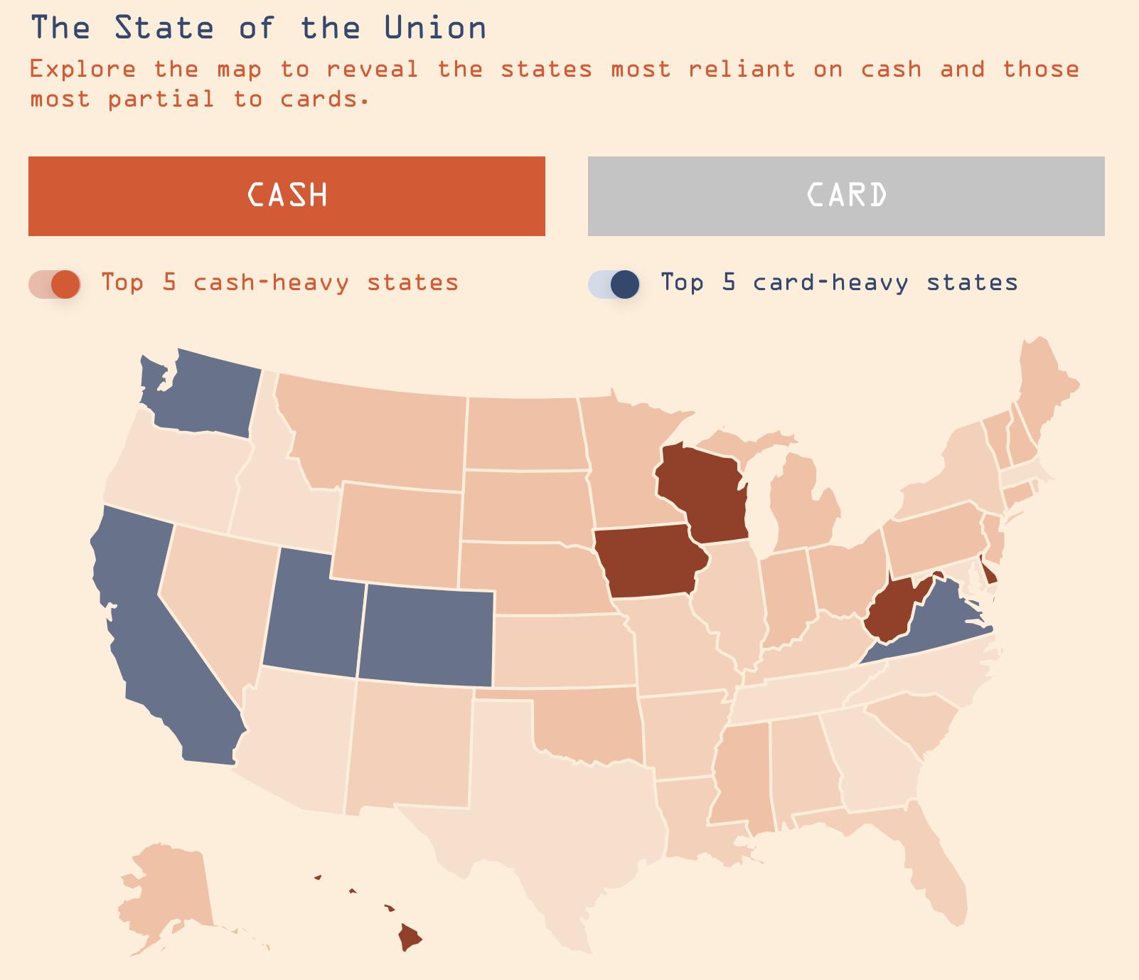 US map - Cash vs card