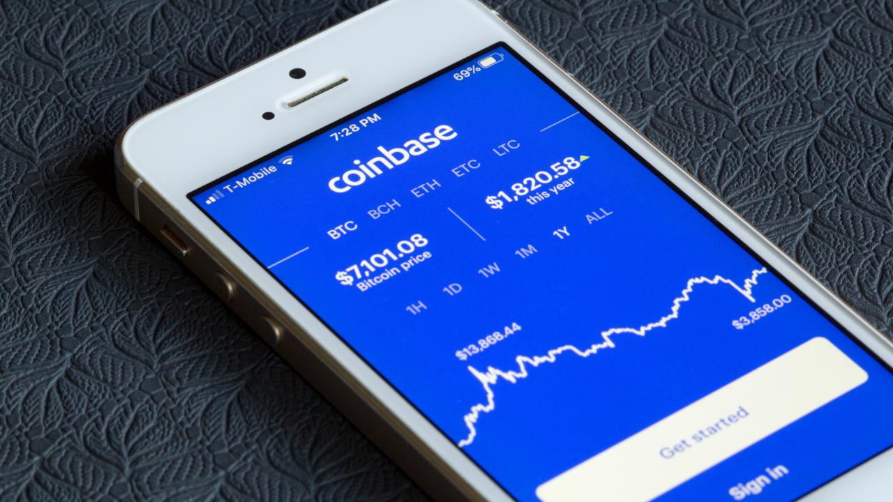 Coinbase app on phone
