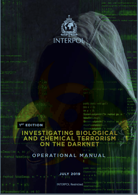 """INTERPOL """"Investigating Biological and Chemical Terrorism on the Darknet"""" manual cover"""