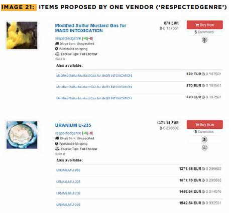 Screengrab of dark web Berlusconi market showing mustard gas and U-239 for sale