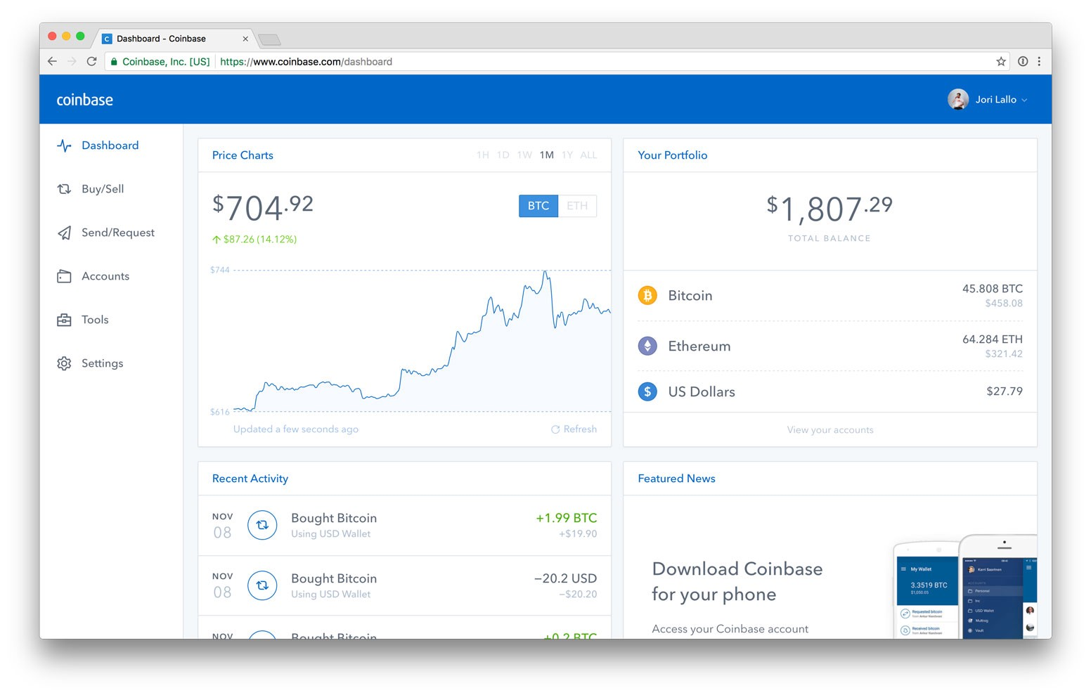 Coinbase menu screen