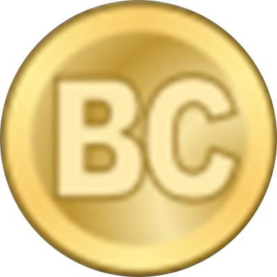 "A gold circle with the letters ""BC"""