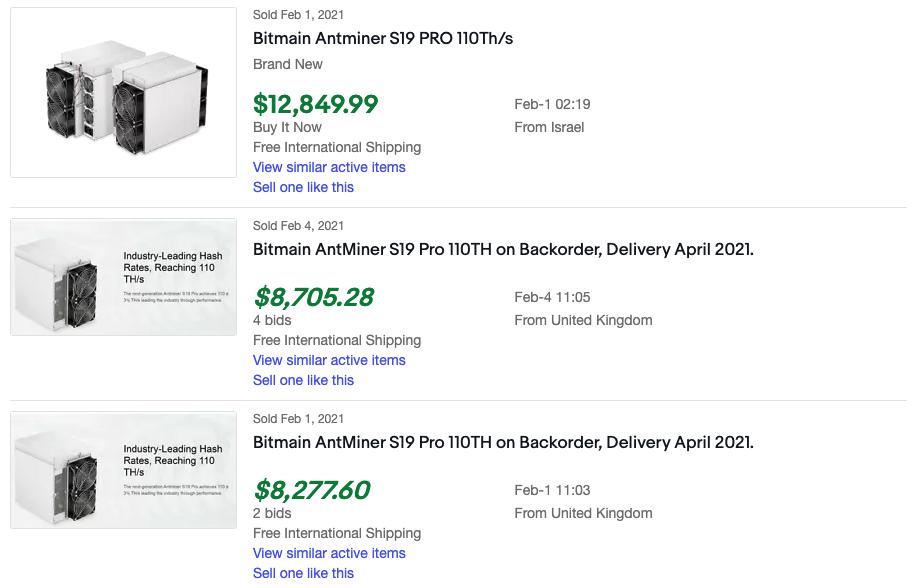 ASIC miners listings on eBay