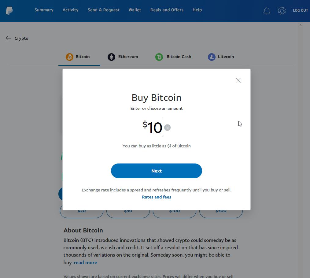 PayPal screenshot showing Bitcoin purchase