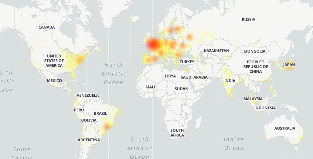 Outages were reported across the world