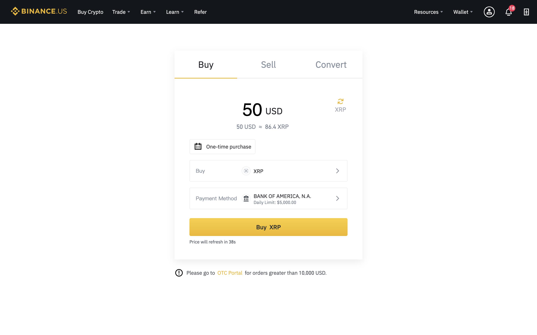 Binance screenshot showing XRP purchase