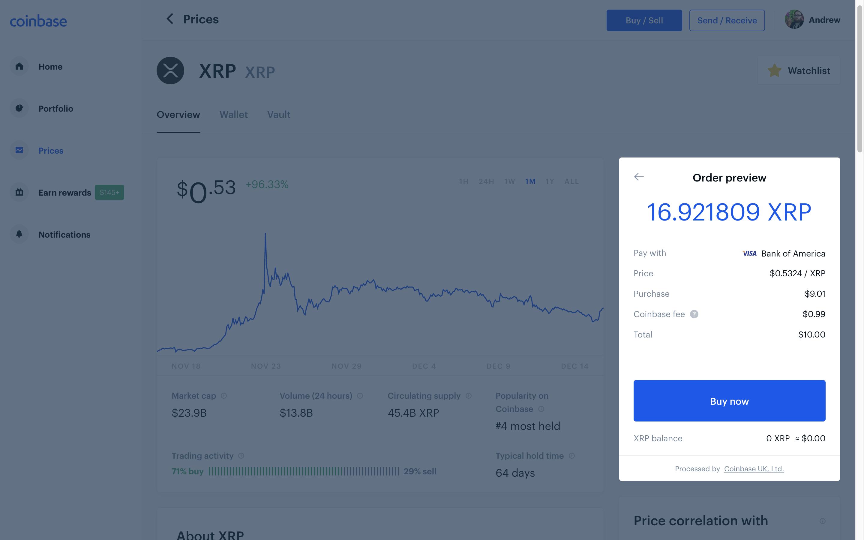 Coinbase screenshot showing XRP purchase