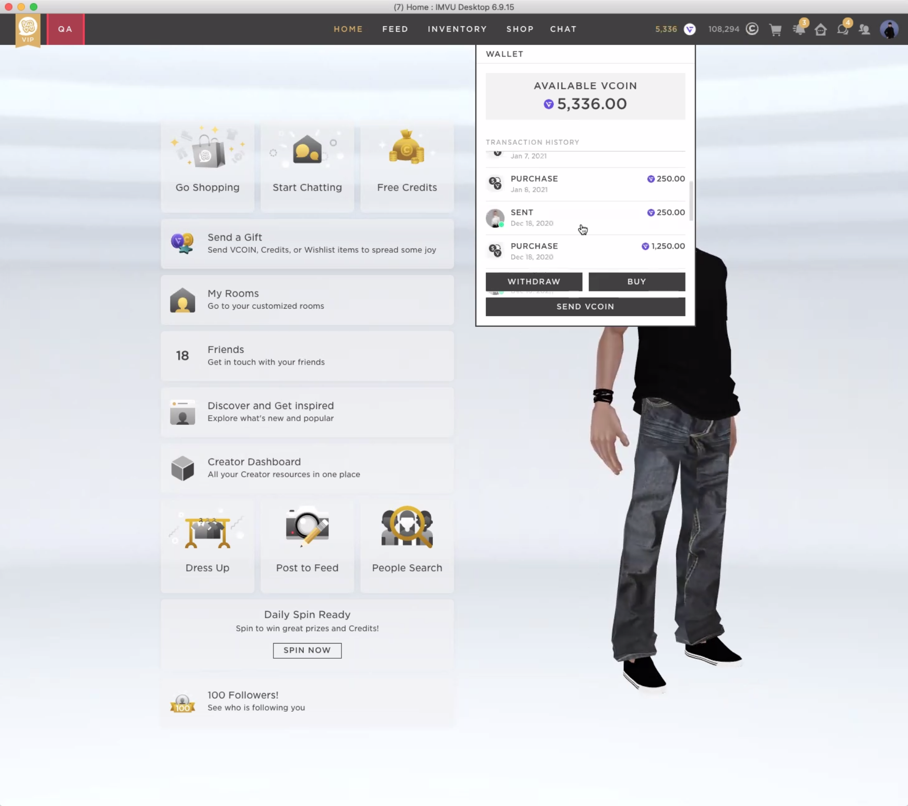 One of IMVU's interfaces for purchasing VCOIN