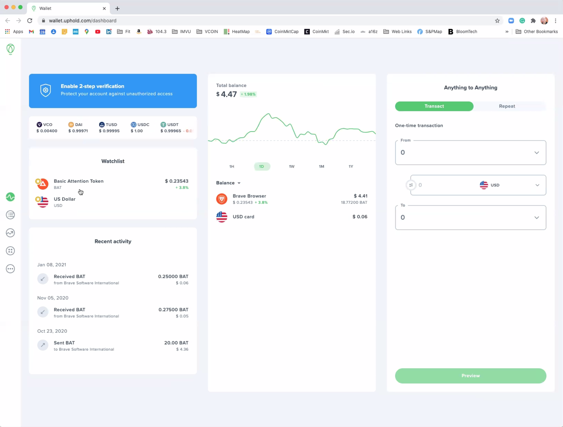 The Uphold wallet interface for converting VCOIN to fiat