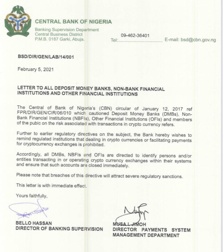 The letter sent by the Central Bank of Nigeria.