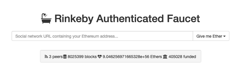 Rinkeby faucet hands ETH out