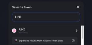 """Uniswap """"select token"""" screenshot"""