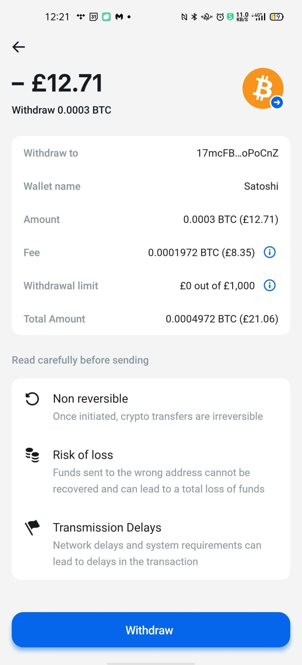 Withdrawing Bitcoin on Revolut