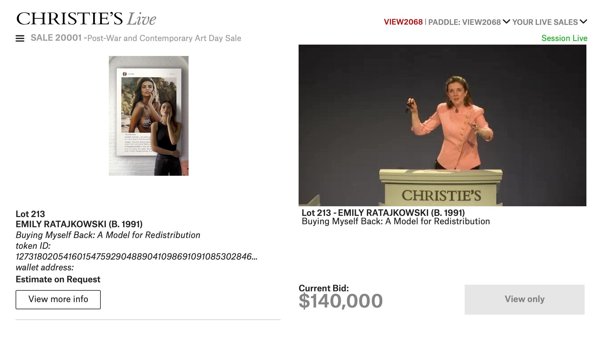 Emily Ratajkowski's NFT auction at Christie's.