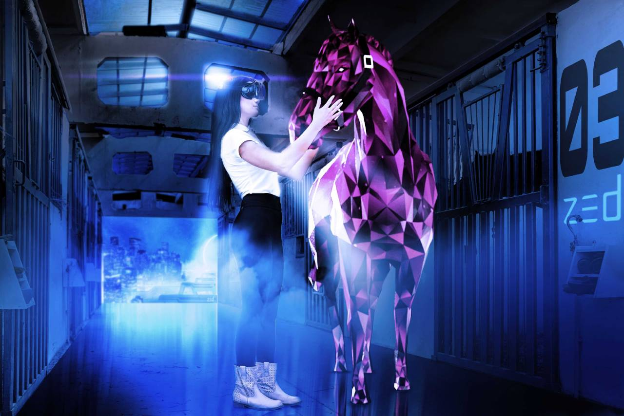 Woman in VR headset grooming polygon horse