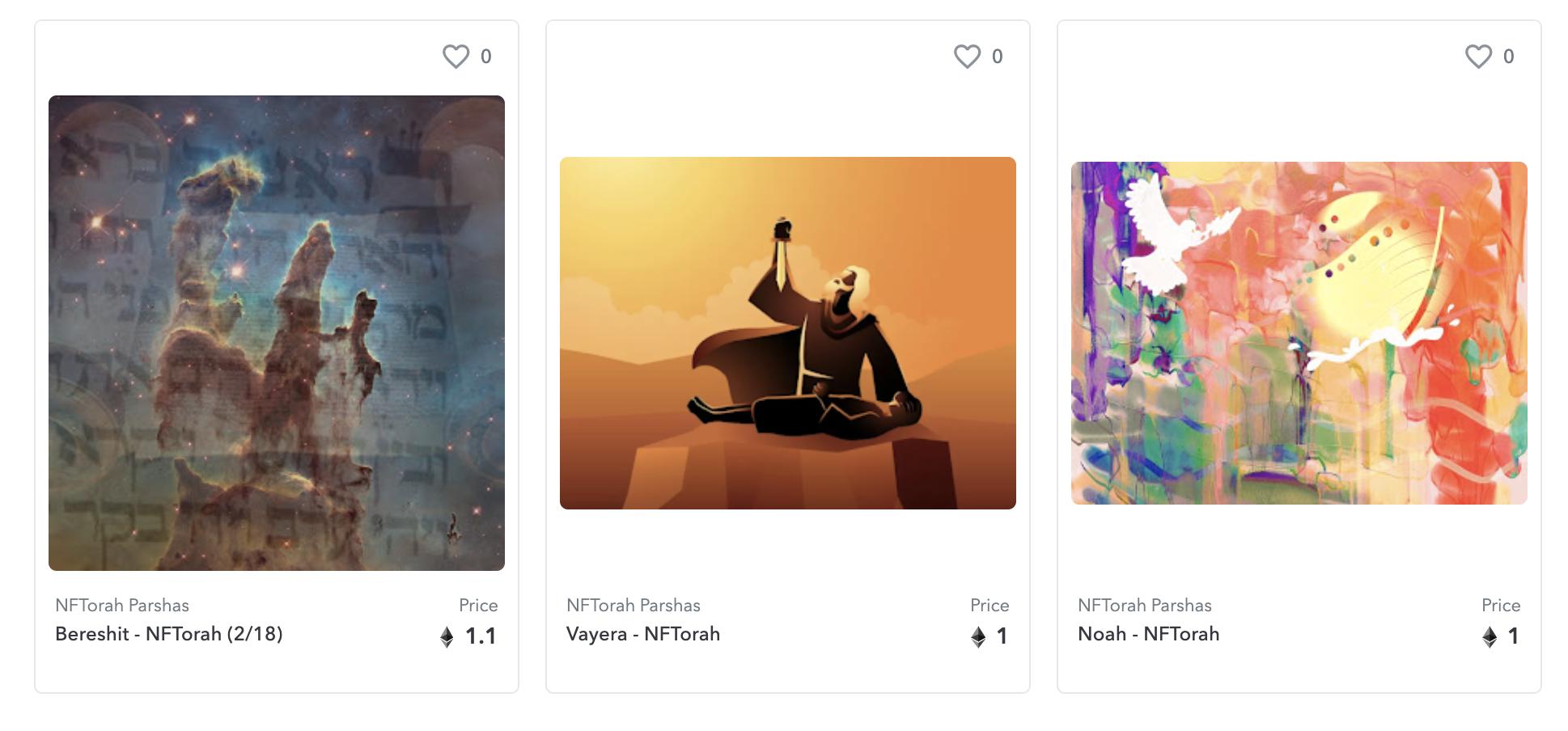 NFTorah artworks on OpenSea