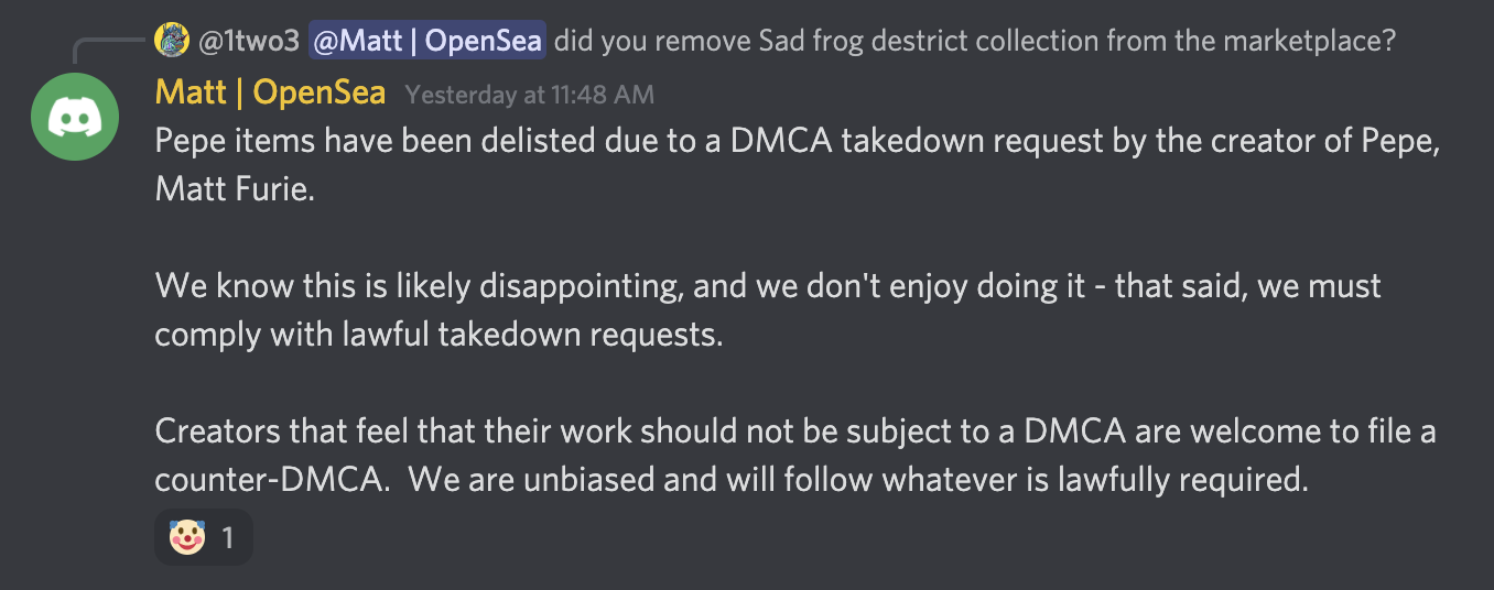 Screenshot of the DMCA takedown announcement from OpenSea's Discord channel